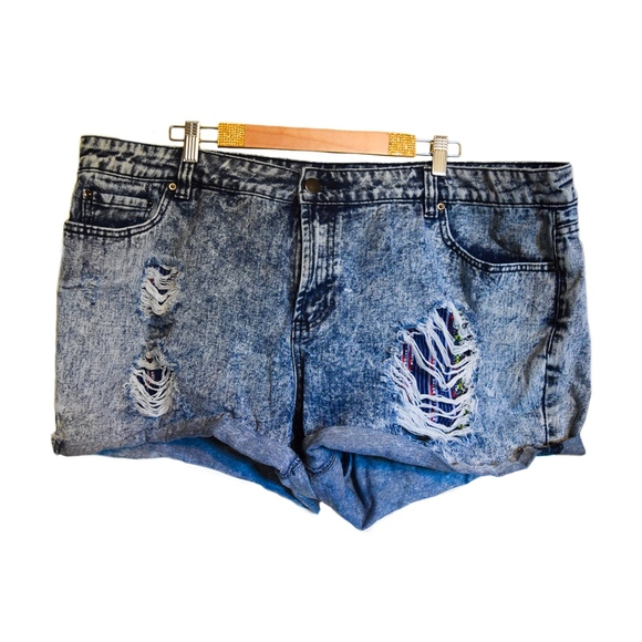 Forever 21 Pants - Bleached and Distressed Denim Shorts